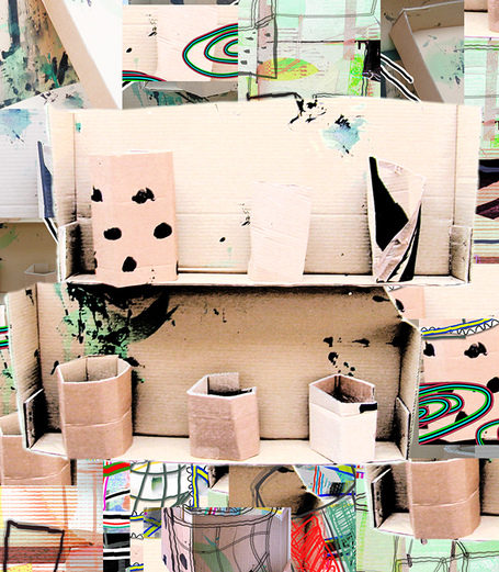 James Faure Walker - Cardboard 4, shelf with objects 2001 56 x 51 cms, archival inkjet print