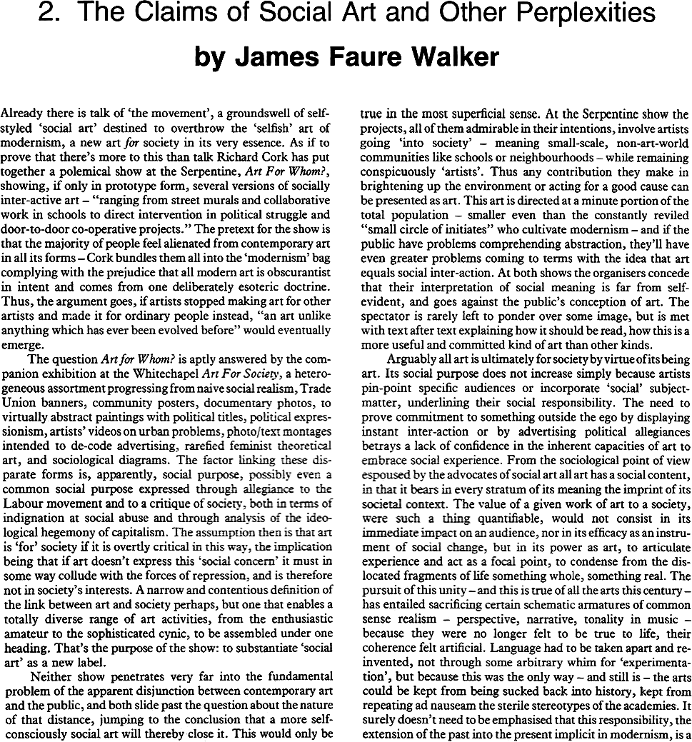 1978  :  The Claims of Social Art and Other Perplexities - James Faure Walker